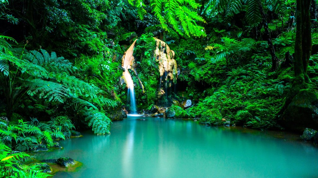 The Azores in Portugal in lush green jungle with a view of the turquoise blue water flowing down from the waterfall.