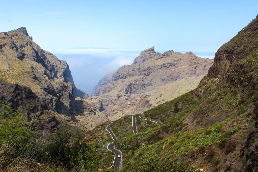 A landscape view of Tenerife in Spain with the roads in the mountains.