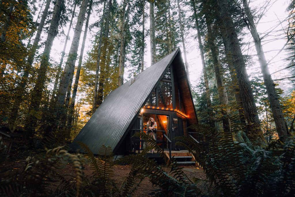 One of the covid inspired innovations Is a workstation cabin in the woods.