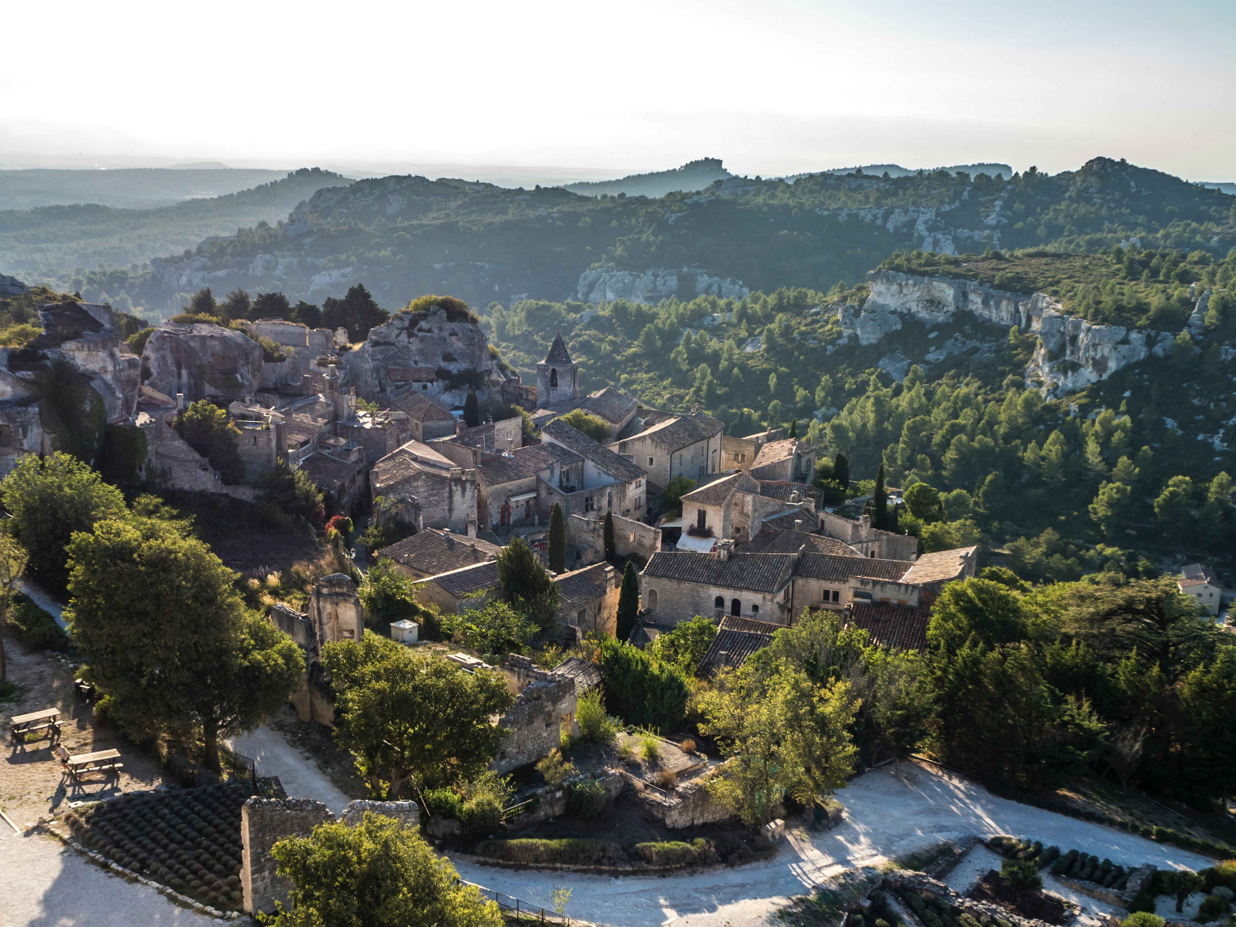 An old French village in the hilly landscapes of Provence