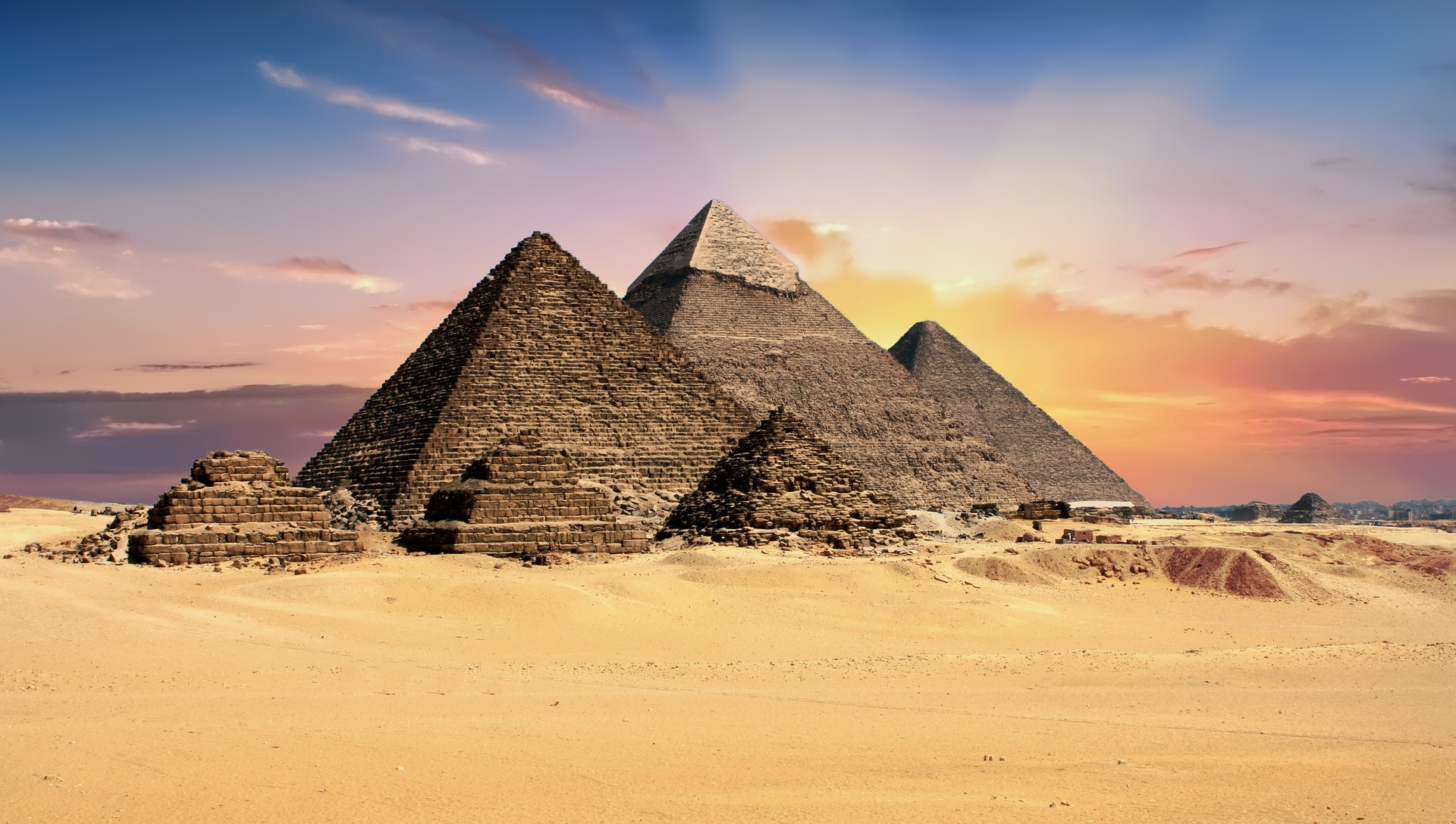 Pyramids at sunrise in Egypt