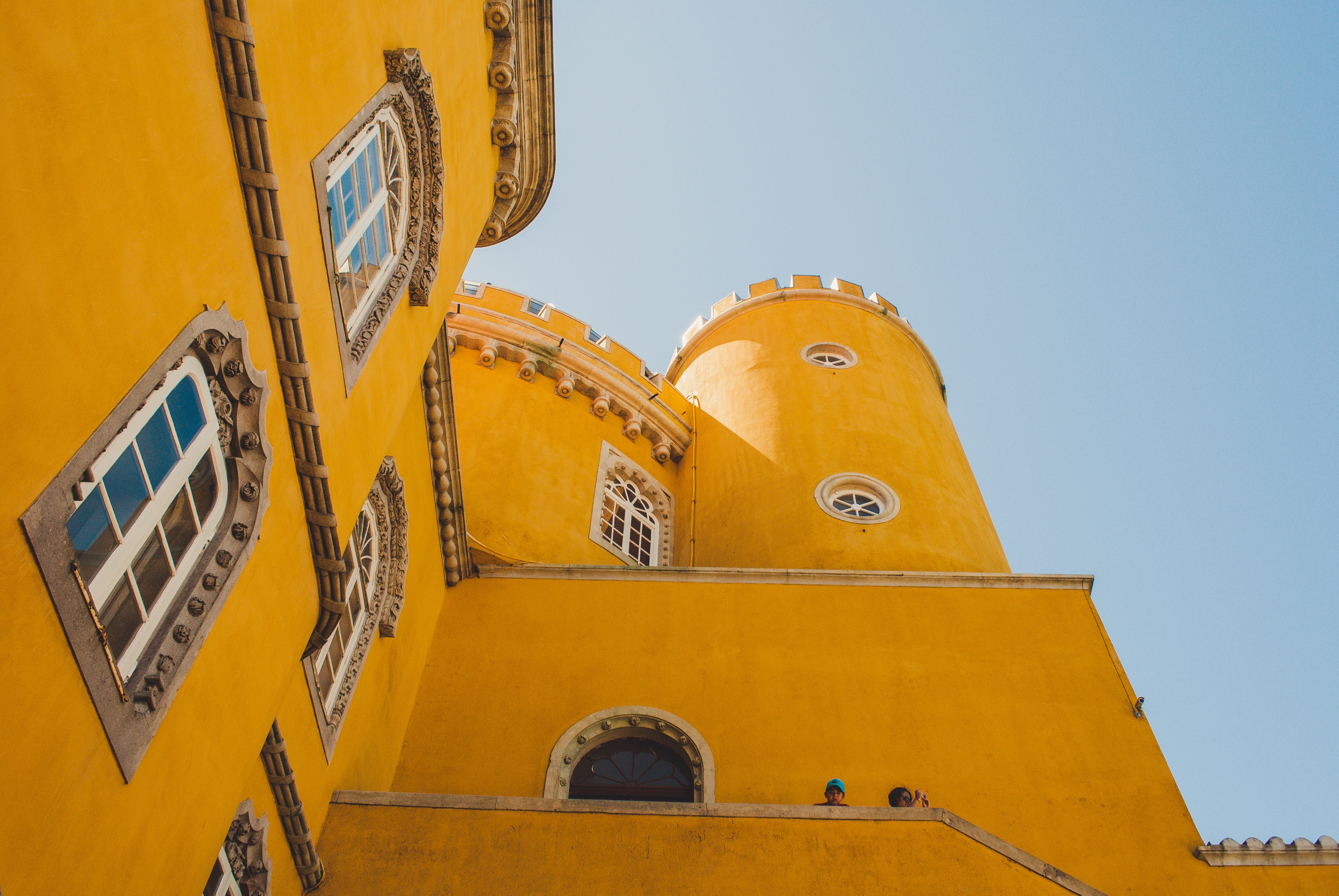 Close-up of a yellow castle in Portugal