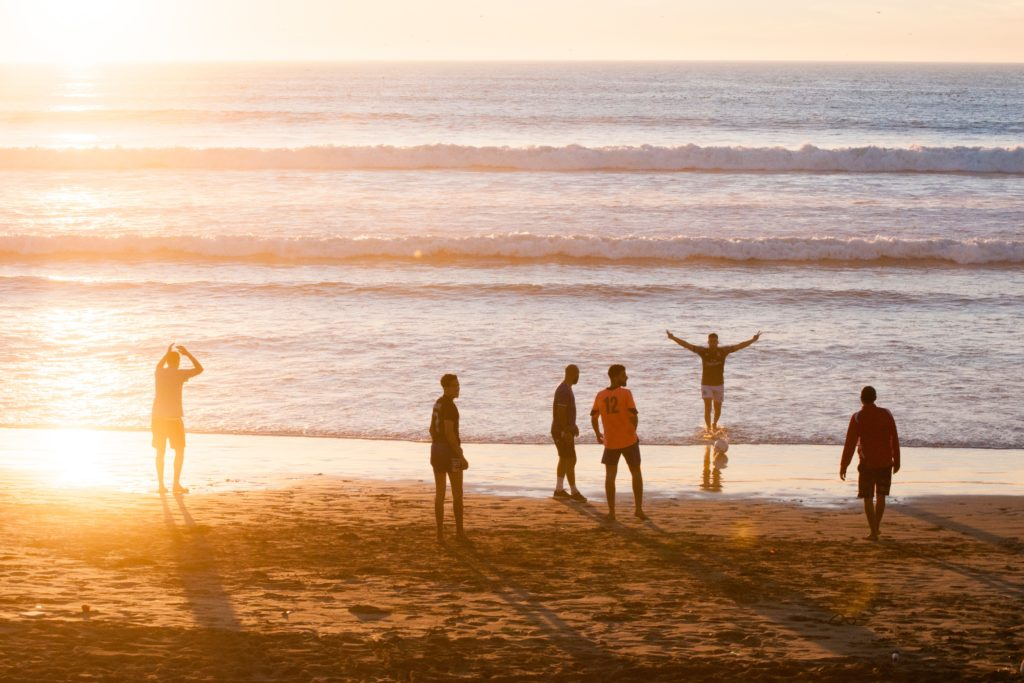 Group of people by a beach