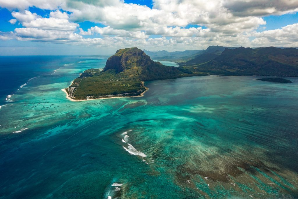 shot from the top Mauritius
